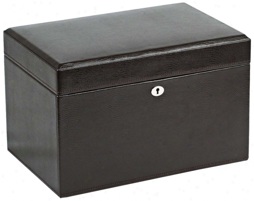 London Collection Means Cocoa Leather Jewelry Box (v5593)