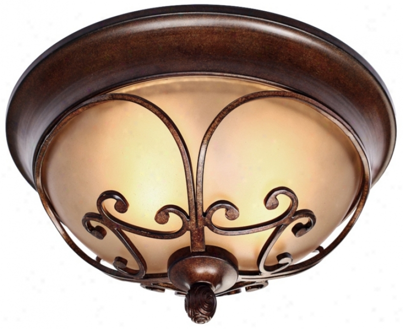 "Loretto Collection Russet Bronze 14 1/2"" Wide Ceiling iLght (r3369)"