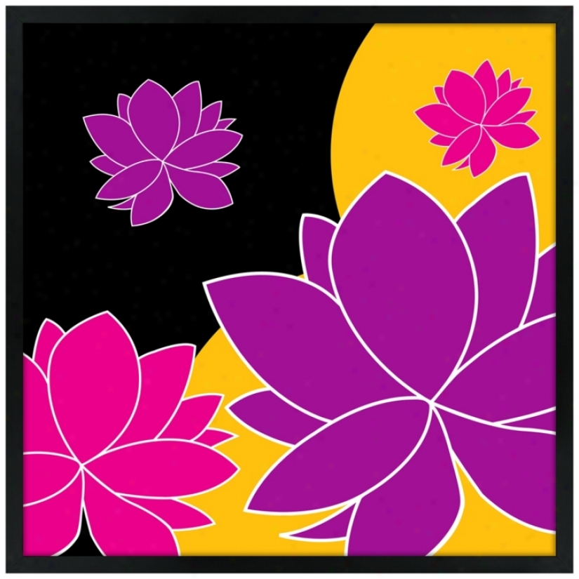 "Lotus Float 21"" Square Negro Giclee Wall Art (n6924)"
