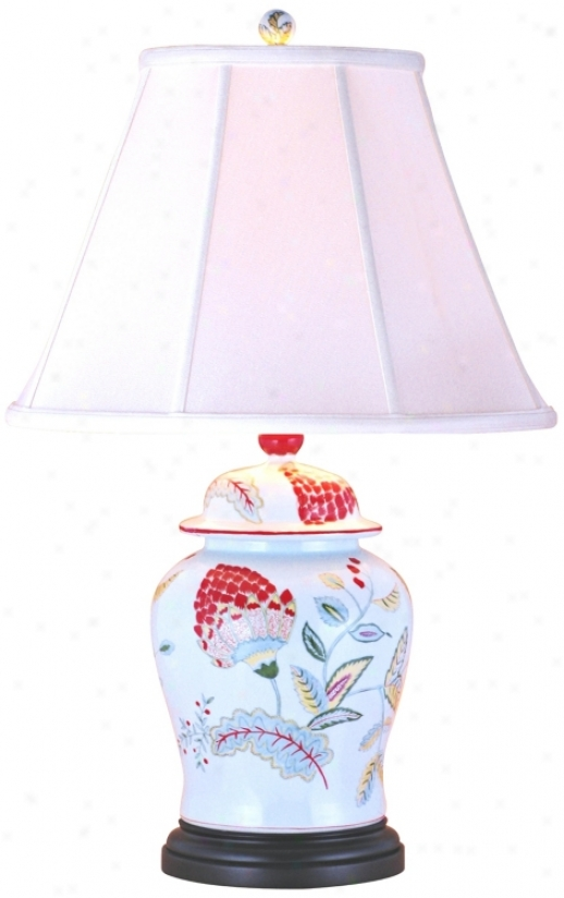 Lotus Flower Porcelain Temple Jar Table Lamp (g6983)