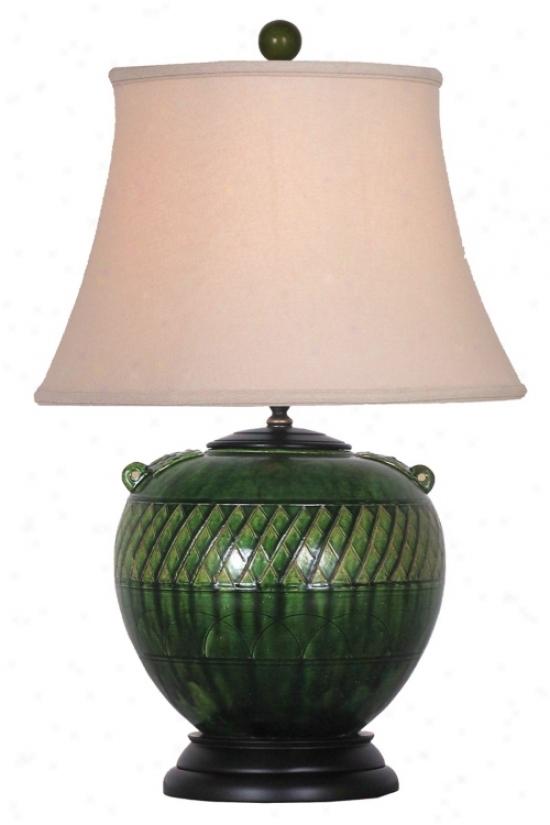 Lotus Green Porcelain Table Lamp (j4940)