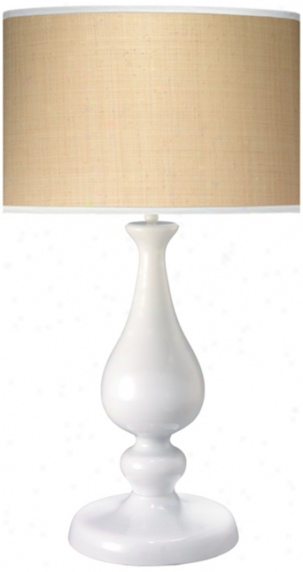 Lucky White Raffia Shade Table Lamp (p2194)