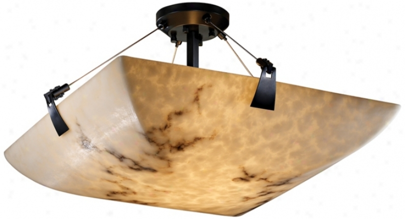 "Lumenaria Faux Alabawter 18"" Wide Semiflush Ceiling Light (k3508)"