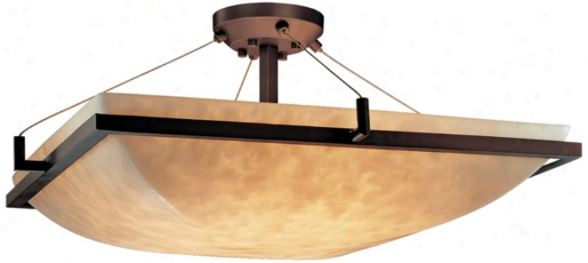 "Lumenaria Faux Alabaster 24"" Wide Semiflush Ceiling Light (k5311)"