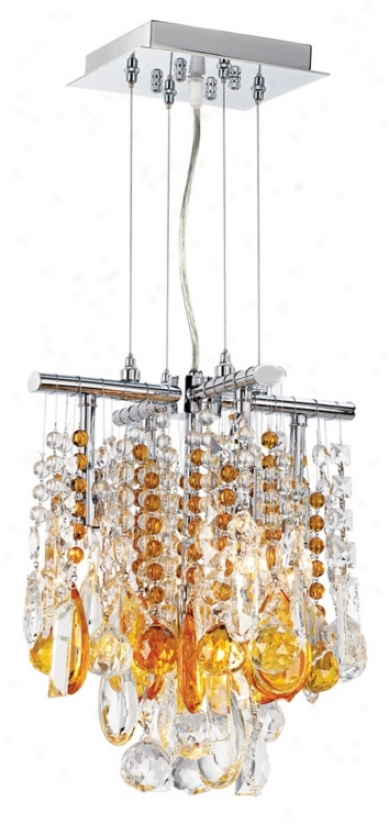 "Luminous 11"" Wide Amber And Clear Crystal Chandelier (26970-00829-00829)"