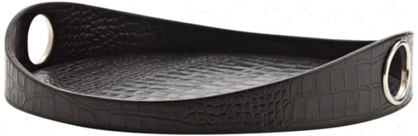 "Lyle 21"" Wide Black Crocodile Embossed Leather Tray (r8589)"