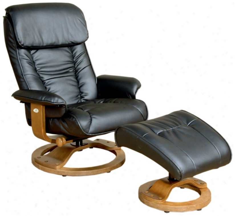 Mac Motion Black Leather Recliner And Ottoman (p0703)