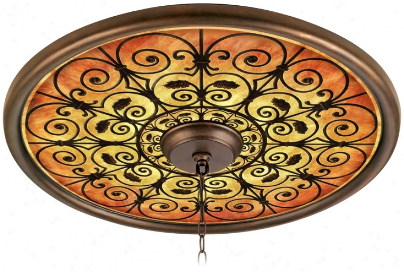 "Madrid Spice 24"" Wide Bronze Finish Ceiling Medallion (02777-g7147)"