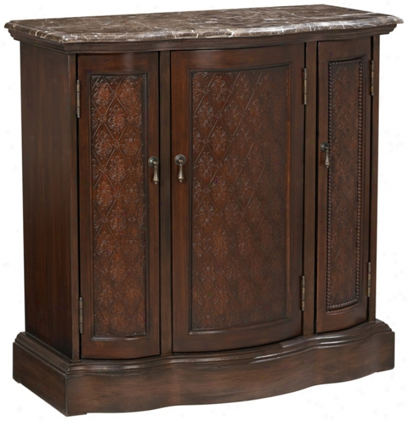 Mahogany Finish Curvec Marble Top Cabinet (v3298)
