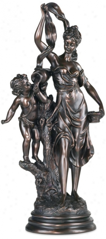 Maiden And Cupid Accent Sculpture (15200)