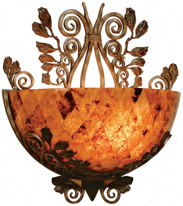Maitland-smith Penshell Bowl And Wroubht Iron Wall Sconce (j9881)