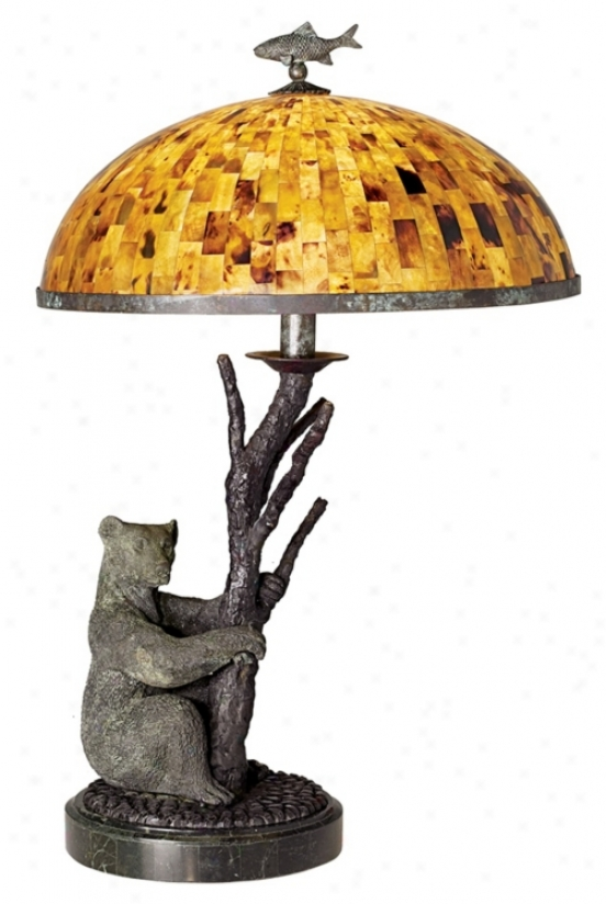 Maitland-smith Tree Stem Bear Pen Shell Ghost Stand  Lamp (07630)