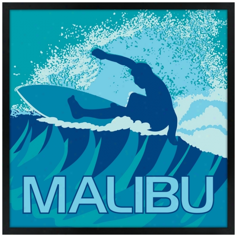 "Malibu Surfer 21"" Square Black Giclee Wall Art (n6912)"