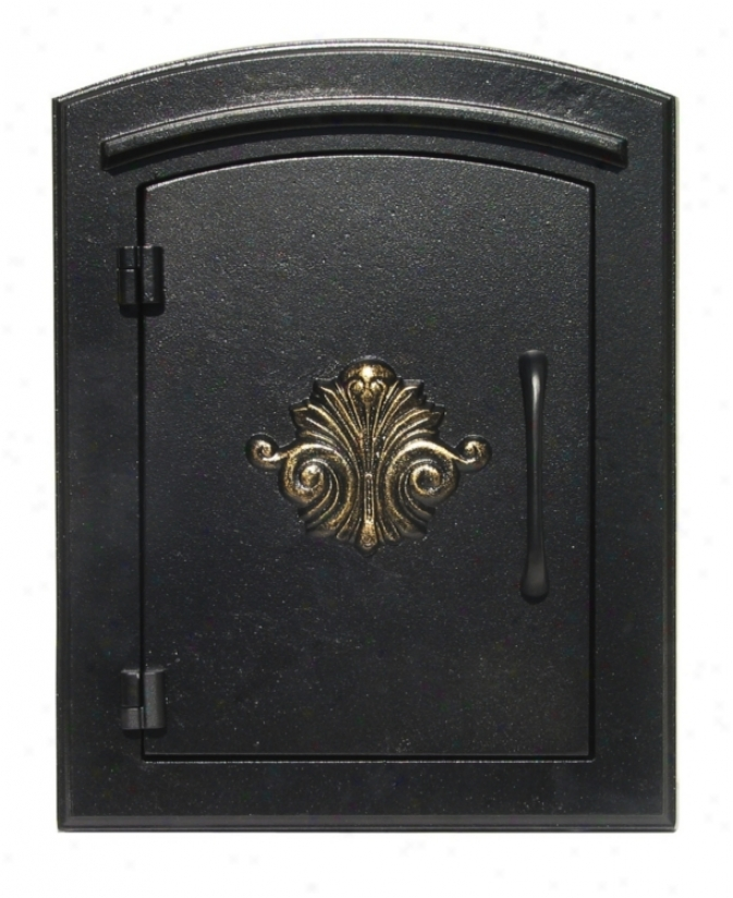 Manchester Scroll Black Column Insett Mailbox (25879)