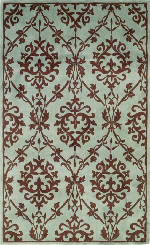 "Manor House Wedgewood And Mocha 2' 6""x8' Rug (f1434)"