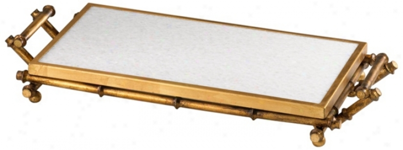Marble And Gold Finish Bamboo Servint Tray (v1559)