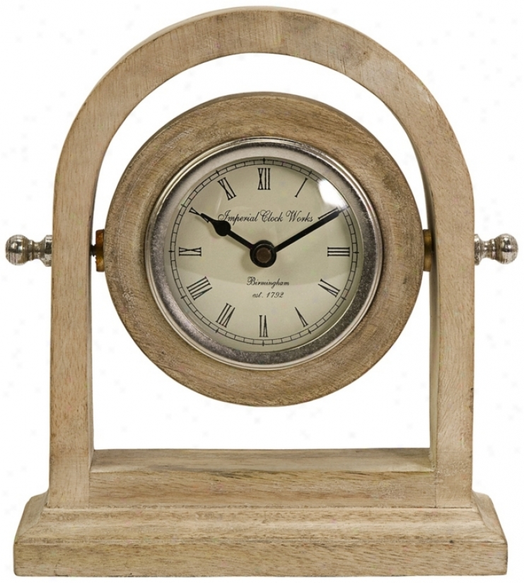 Mason Adjustable Angle Natural Wash Wood Desk Clock (w206)