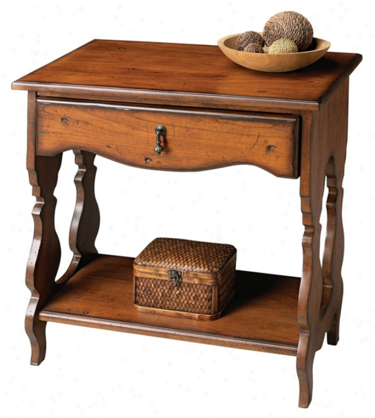 Masterpiece Collection Distressed Cherry Side Table (m4021)