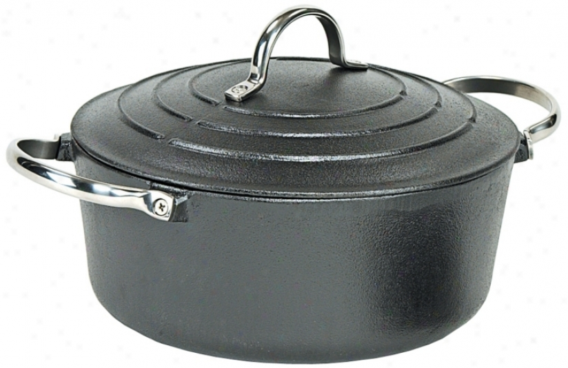 Matte Black Roun Enameled Cast Iron Dutch Oven (u9169)