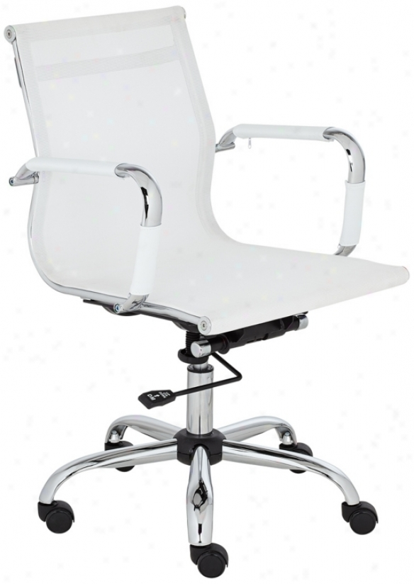 Maxmesh White And Chrome Low Back Desk Chair (u7602)