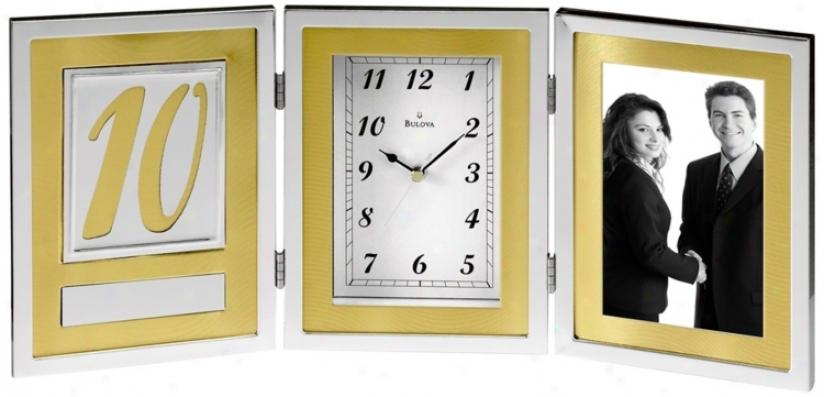 "Medallion 16 1/2"" Wide Anniversary Bulova Desk Clock (v1991)"