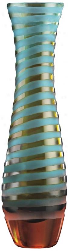 Medium Blue And Orange Chiseled Glass Vase (j448)