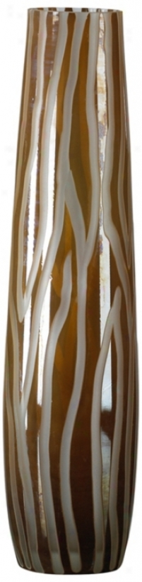 Medium Caf Brown And Smoke Etched Glass Vase (r0668)
