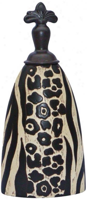 Medium Ceramic Black And Pale Animal Print Malawi Jar (v5188)
