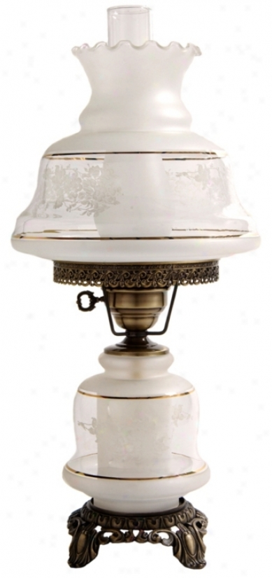 Medium Etched White And Gold Night Light Hurricane Lamp (f7953)