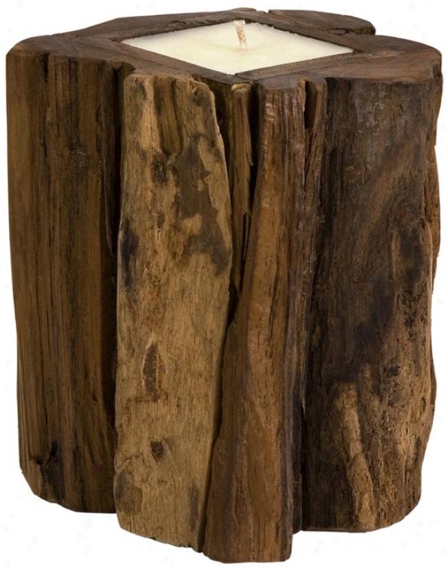 Medium Natural Teakwood Stump Candle (t9814)