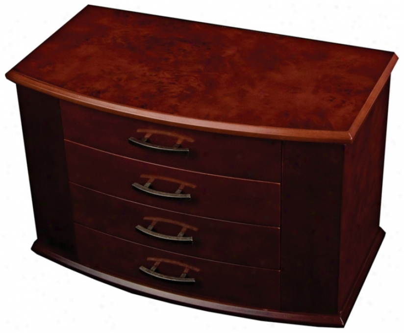 Mele & Co. Meredith Dark Burlwood Walnut Upright Jewelry Box (t1166)