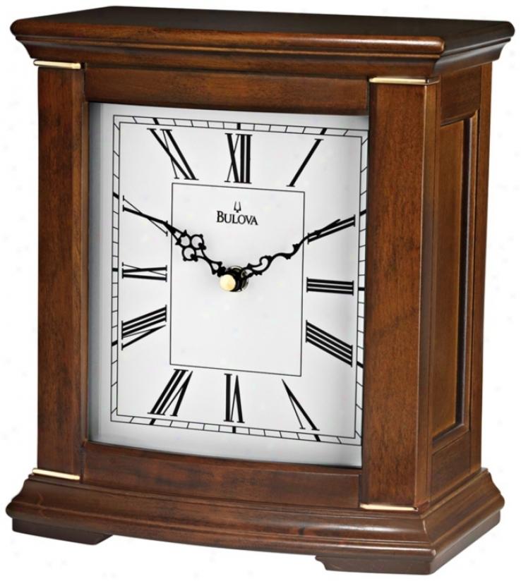 "Meloxia 9 1/4"" High Walnut Finish Bulova Mantel Clock (\/9805)"
