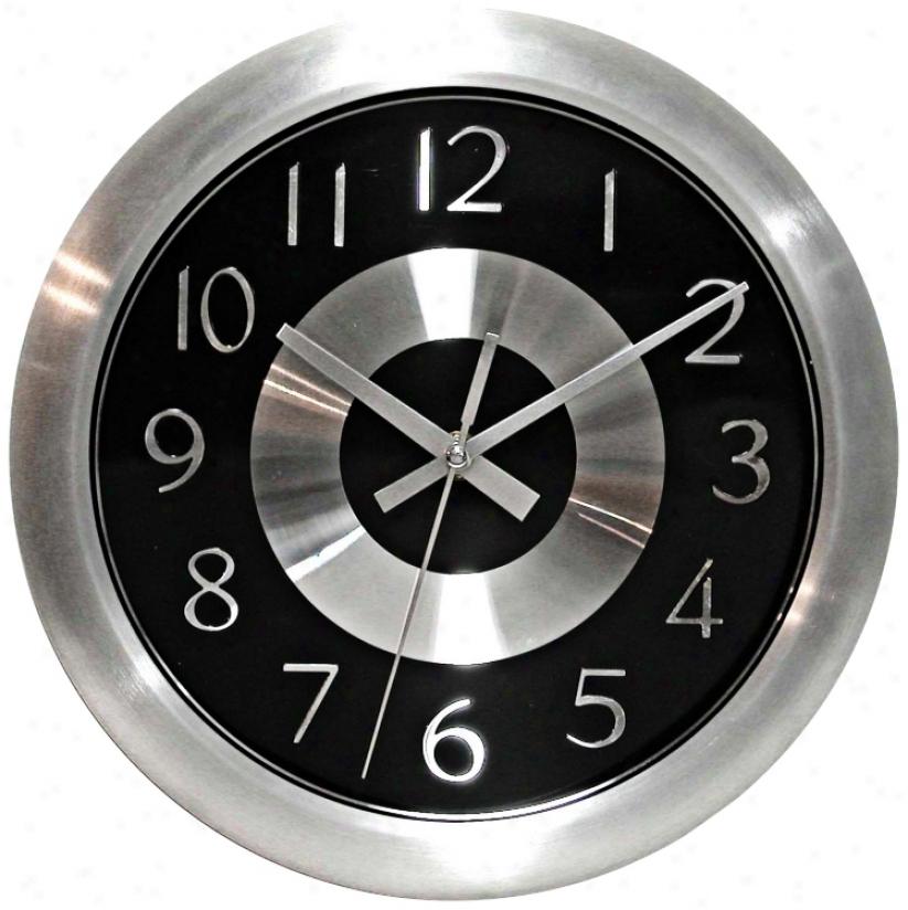 "Mercury Black 10"" Wide Wall Clock (j4591)"