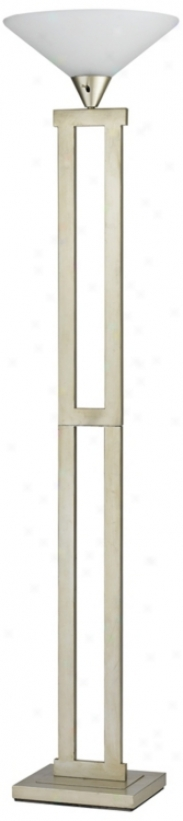 Metal Cllumn Torchiere Floor Lamp With Frosted Glass Shade (k1088)