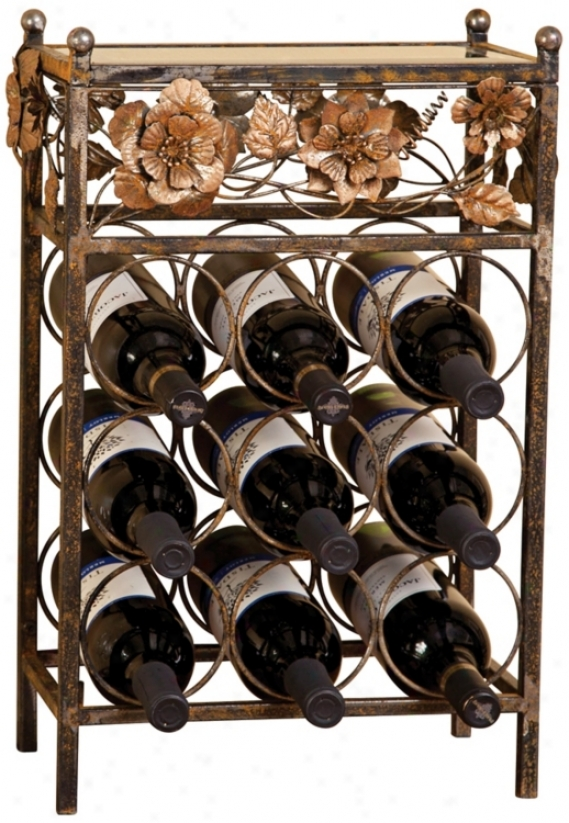Metal Flowers Anf Glass 9-bottle Wine Rack (u4023)