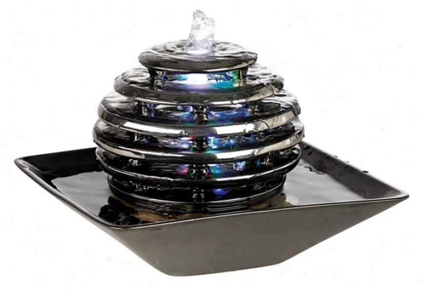 Metallic Chrome Led Light Table Fountain (57990)