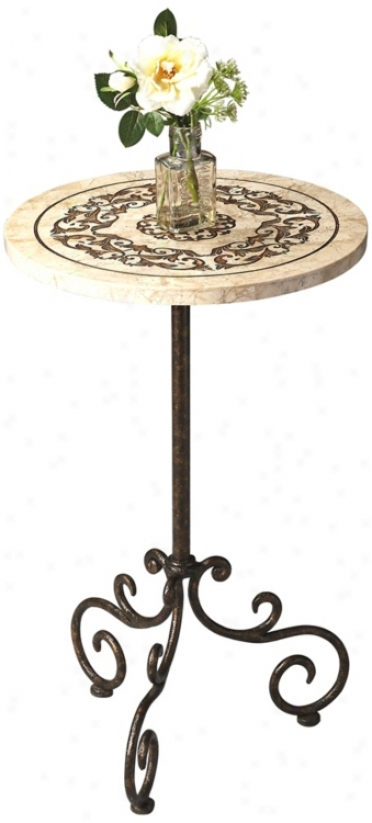 Metalwork Scrolled Fossil Stone Pedestal Table (u7810)