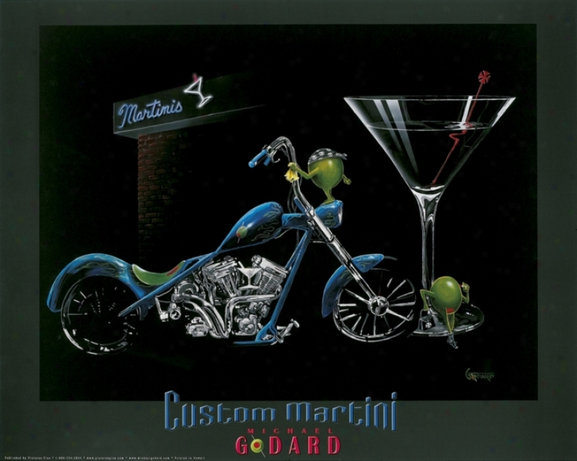 "Michael Godard Martini Motorcycle 30"" Wide Wall Art (51855)"