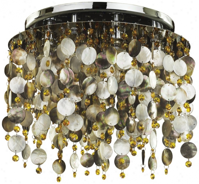 "Midnight Pearl Topaz Crystal 17 1/2"" Wide Ceiling Light (w4030)"