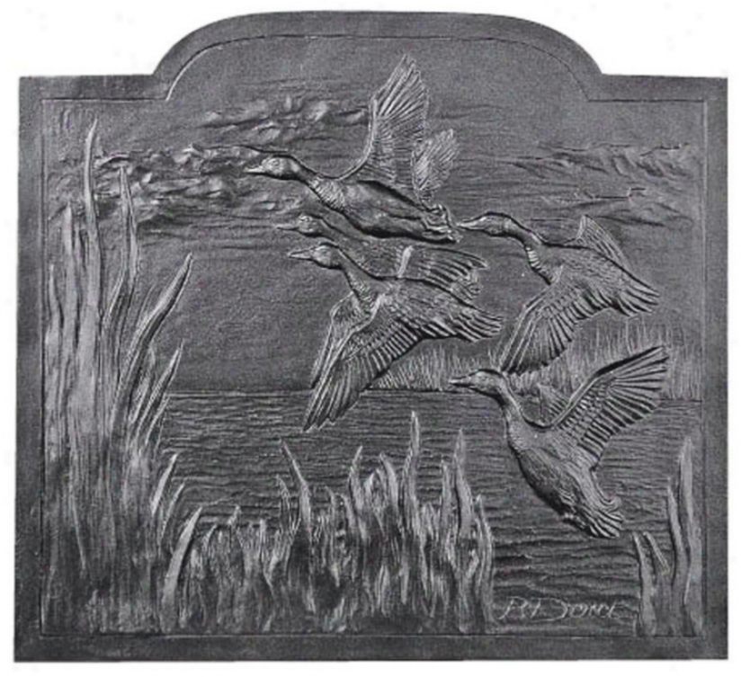 Migrating Ducks Fireplace Natural Cast Iron Fireback (u9706)