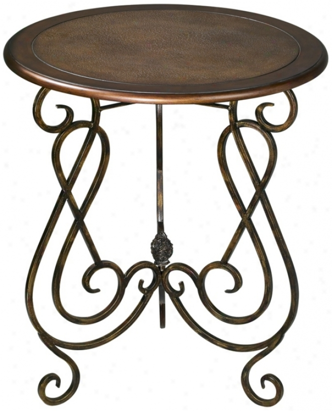 Miller Leather Top Round Accent Table (t3144)
