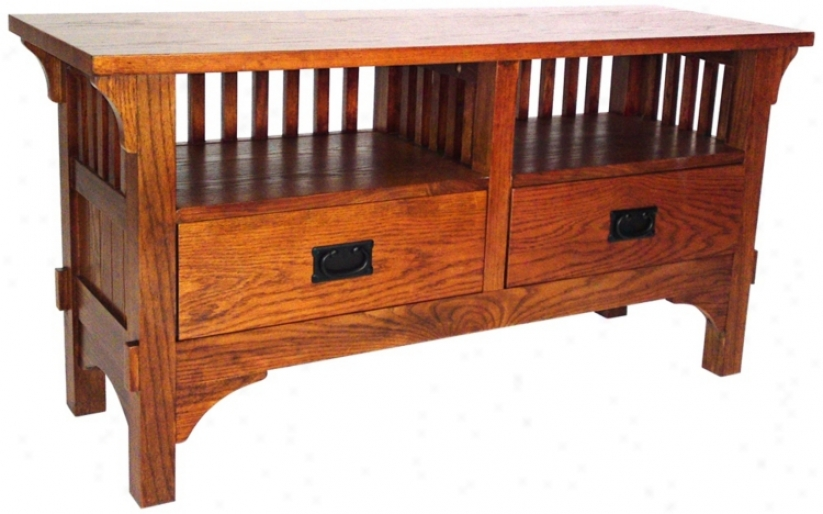 Mission Style Oak Finish Entertainment Console (r0979)