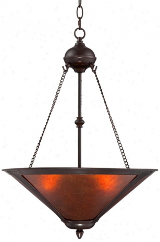 "Mission Style Oil-rubbed Bronze 17"" Wide Mica Pendant Light (t7268)"