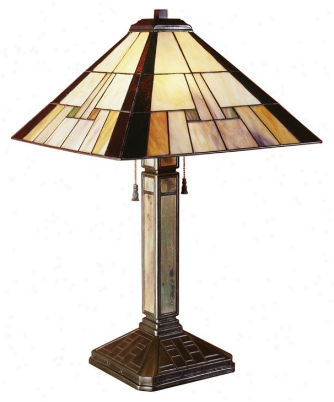Mission Tiffany Square Sided Shade Table Lamp (20080)