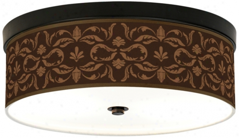 Mocha Flourish Linen Giclee Energy Efficient Ceiling Light (h8795-u1649)