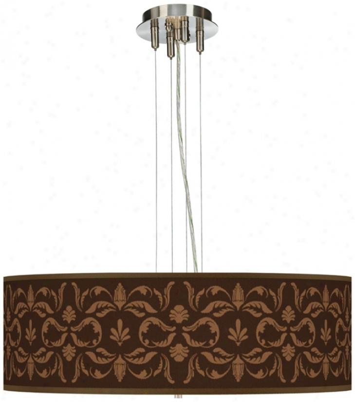 Mocha Flourish Linen Giclee Shade Pendant Chandelier (17276-u1590)