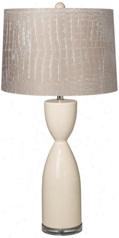 Mock Croc Shadow Eggshell Ceramic Hourglass Tsble Lamp (t5904-t6529)