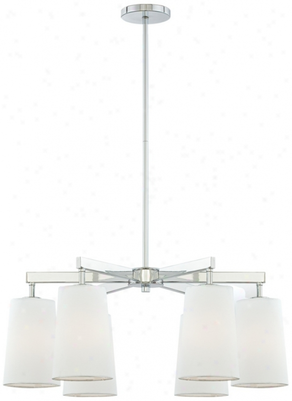"Modern Chrome 27"" Wide 6-light Chandelier (p4389)"