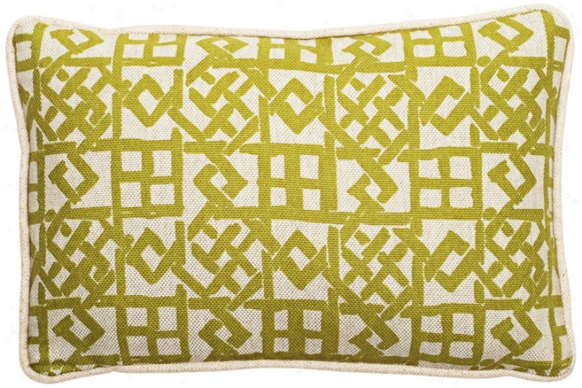 "Modern Lattice Green And Natural 17"" Remote Lumbar Pillow (t6205)"
