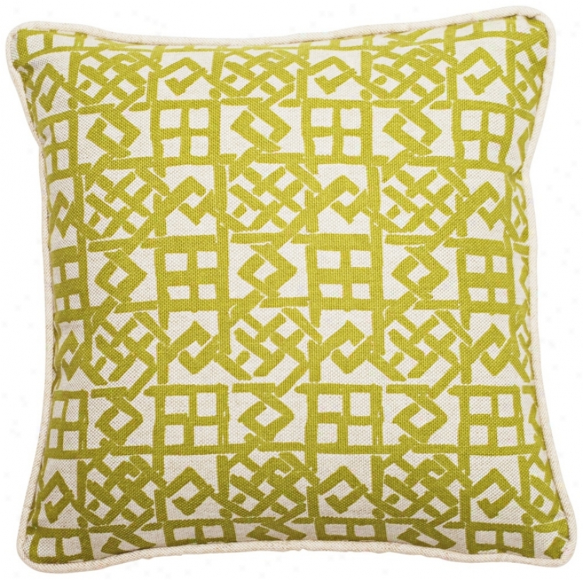 Modern Lattice Green And Essential 18&qiot; Square Throw Pillow (t6209)